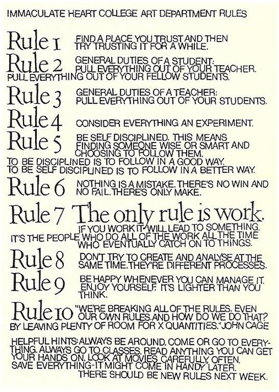 Sister Corita rules