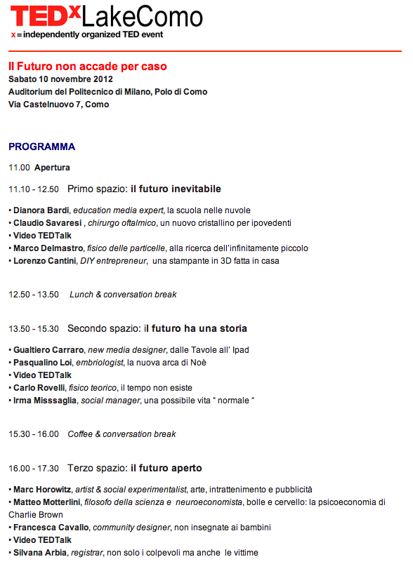 TEDxLakeComo2012_Program