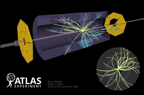 Una delle prime collisioni registrate da ATLAS a 900 GeV nel 2015.